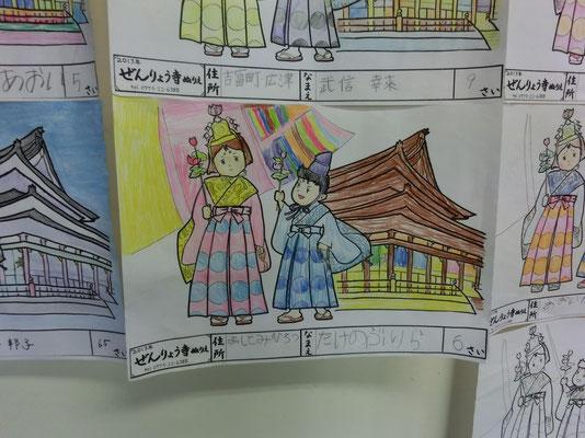 ぬり絵: 子供につられて大人もぬり絵を描いてくれます。墨絵やラメ入りなどけっこう凝ってます。