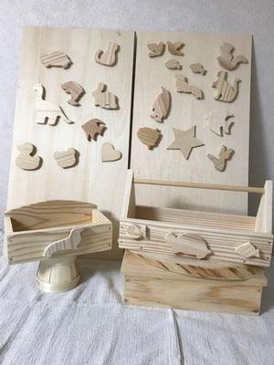 ラック・手さげボックス(木のパーツ(小)&シール付き)