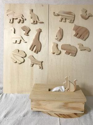 ティッシュボックス(木のパーツ(大)&シール付き)