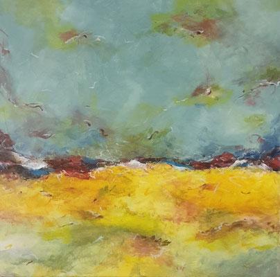 """Coronalandschaft"", Mixed Media auf Leinwand, 60x60 cm"