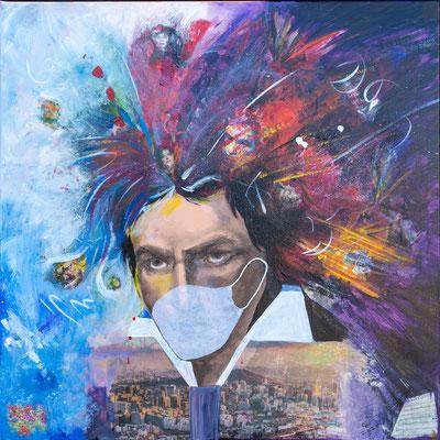 """Beethoven 2020"", Mischtechnik mit Collage, 70x70 cm"