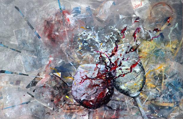 """Rot trifft Weiß"", Mixed Media auf Leinwand, 113x70 cm"
