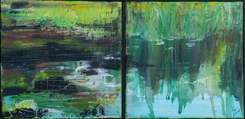 """Am See"", Diptychon, Acryl auf Leinwand, 20x41 cm"