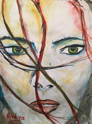 """""""FACE 7"""", Aquarell auf Papier, 30 x 40 cm"""