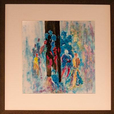 "Nr. 9 / JOSEF MUSSER / ""Meeting"", Tintografik auf Alu-Platte, 32x32cm, 200,-€"