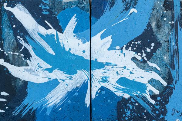 """Blue Motion"", Diptychon, Acryl/Mischtechnik, 60x40 cm"