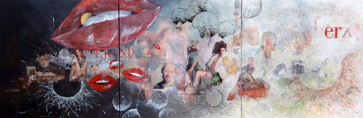 """Lucky Lipps"", Mixed Media auf Leinwand, 150x50 cm"