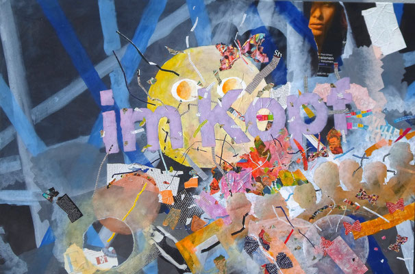 """im Kopf"", Mixed Media auf Leinwand, 120x80 cm"
