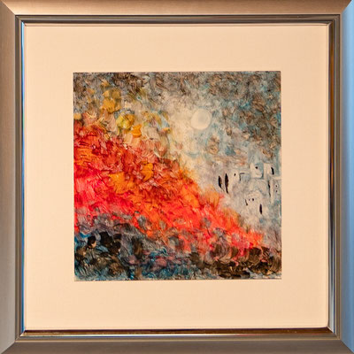 "Nr. 11 / JOSEF MUSSER / ""Inferno"", Tintografik auf Alu-Platte, 35x35cm, 200,-€"