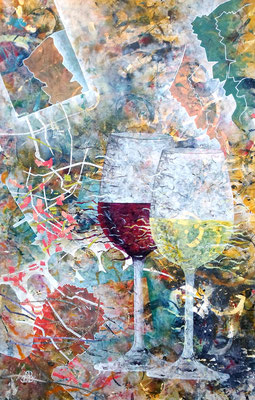 """""""gemischter Satz"""", Mixed Media auf Leinwand, 70x113 cm"""