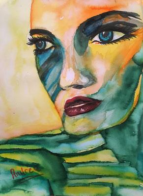 """""""FACE 1"""", Aquarell auf Papier, 30 x 40 cm"""
