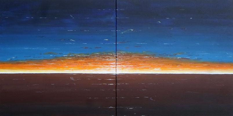 """Sonnenuntergang"", Mixed Media auf Leinwand, 100x50 cm"