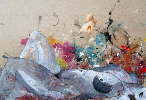 """""""Akt, der erste"""", Mixed Media uf Leinwand, 113x70 cm"""