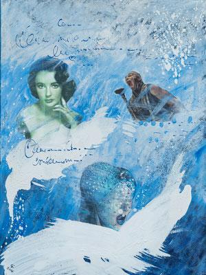"""""Crying for Liz"", Collage auf Leinwand, 60x80 cm"