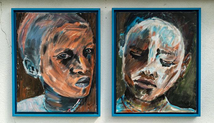 """Africa"", Acryl auf Leinwand, je 40x50 cm (ohne Rahmen)"