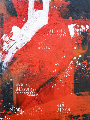 """""""Red Composition"""", Mischtechnik auf Leinwand, 60x80 cm"""