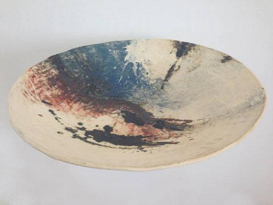 Schale in Keramik mit Engoben & Oxiden ,Durchmesser 64 cm
