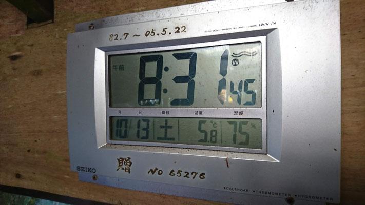 前社森小屋で 温度が低いです
