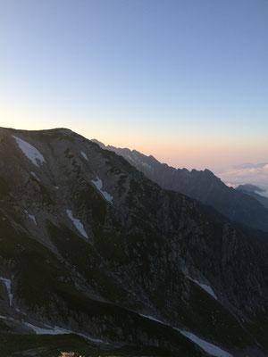 夕方の剱岳と別山