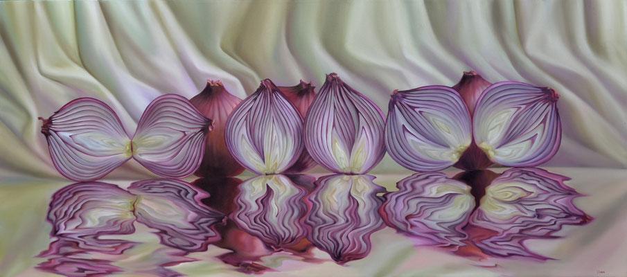 Jorge Luna, el llanto de las cebollas, óleo sobre tela, 80 x 180 cm.