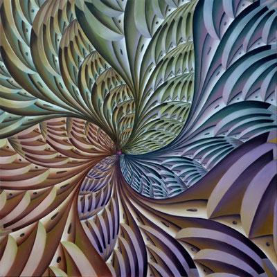 GALAXIA QUETZALCÓATL. Óleo sobre tela. 100 x 100 cm. Jorge Luna.