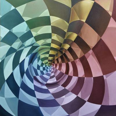 CONVERGENCIA BIPOLAR. Óleo sobre tela. 120 x 120 cm. Jorge Luna.