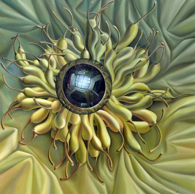 Jorge Luna, La estrella de la salsa, óleo sobre tela, 120 x 120 cm.