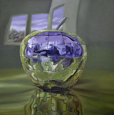 EL ORO DEL CONOCIMIENTO. Óleo sobre tela, 100 x 100 cm. Jorge Luna