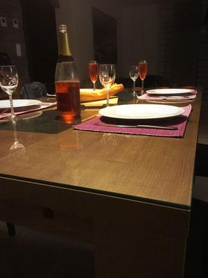 Dessus de table en verre sur mesure 6 mm joint poli droit