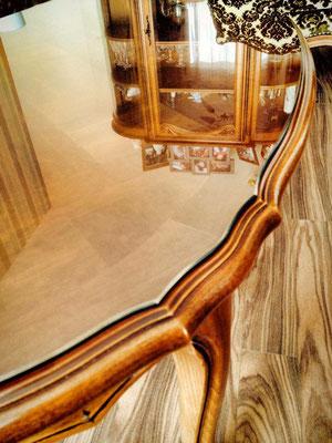 Dessus de table en verre sur mesure 6 mm joint poli en forme