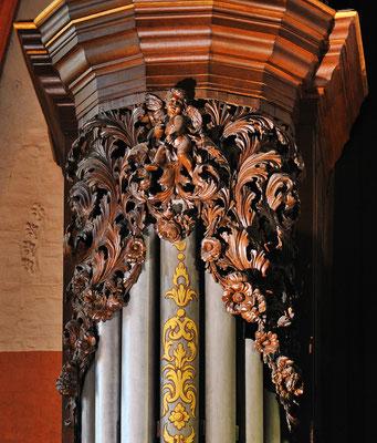Detail aus dem Prospekt der Orgel in St. Michaelis
