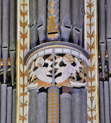 Detail aus dem Prospekt der Orgel in St. Johannis