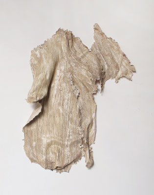 skin of tree|60×50×8cm|2015|craft glue,oil ink