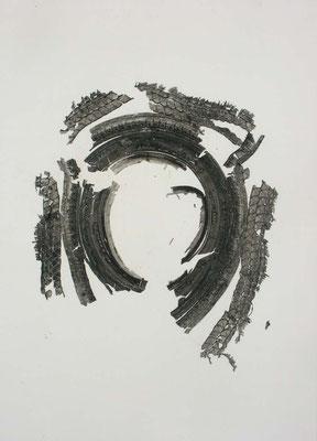 Untitled • Tire|157×112cm|2008|craft glue,oil ink,paper