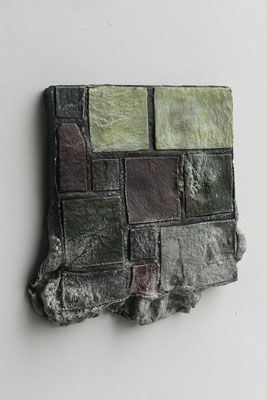 Untitled ・ Part of the wall 01|33×33×4cm|2019|puff binder,dyestuff,others