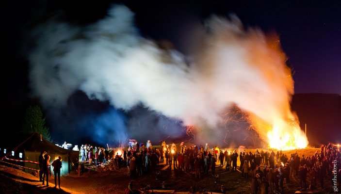 Panorama, Osterfeuer in Lerbach 2016