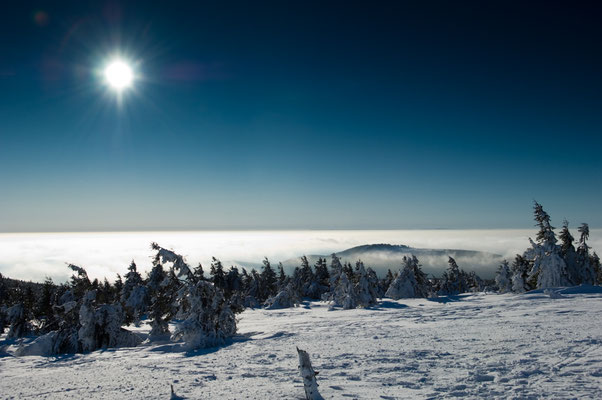 Berge, Felsen und Täler: Nebelmeer, vom Brocken, rechts hinten der Wurmberg als Insel