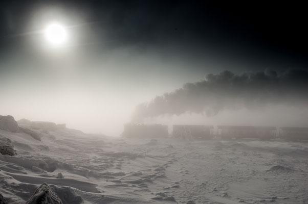Brockenbahn im Nebel