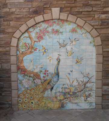 Tile Mural - custom made - hand painted - Peacock