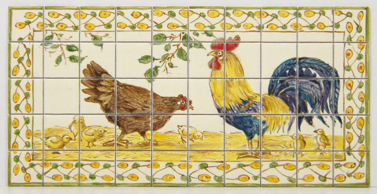Chicken and Rooster miniture tile mural