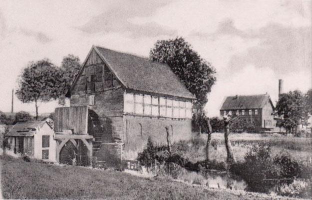 Molkerei/Melle 1910, im Vordergrund: Harms Wassermühle