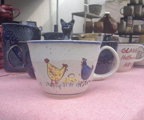 """Tasse """"Jumbo"""" - Dekor : """"Hühner"""""""