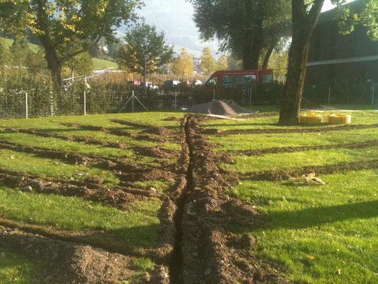 Entwässerung im Rasen