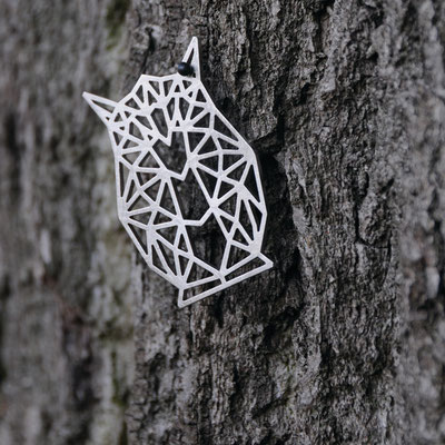 OWL - brooch - stainless steel