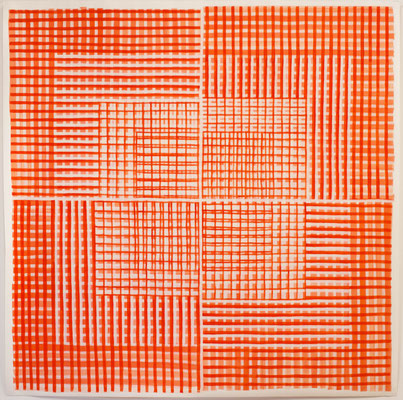 Zinnober 1 - 200 x 200 cm - Acryl auf Papier