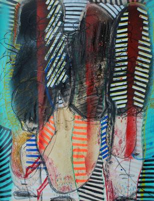 Le sang des Femmes - Technique mixte sur Papier - 65 x 50 cm - 2017 - 600€