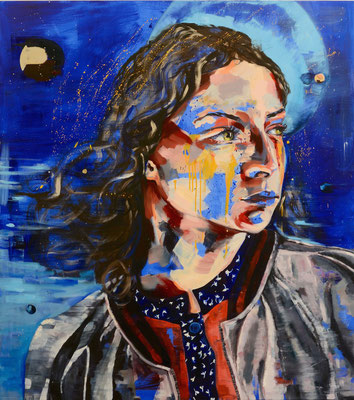urban angel (m1), 2017, acrylic + oil on canvas, 120 x 135 cm