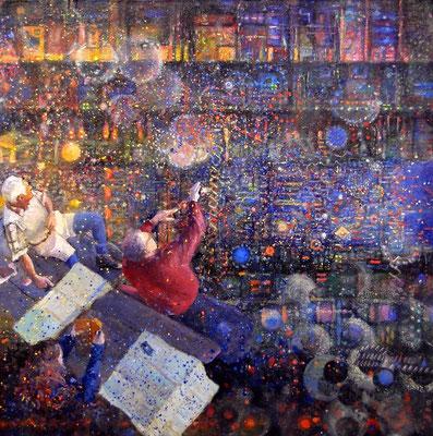Poszukiwacze kwarków powabnych. Seekers of Charm Quarks. Oil on board 50x 50cm