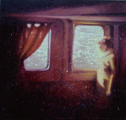 """Rejs, (Tam i tu) Olej na panelu malarskim, 50x50cm Obraz inspirowany wierszem Bogdana Jaremina """" Już prawie poza mną, jeszcze niemal wewnątrz miejsce i wspomnienie, niepweny ich dotyk, dwoiste pragnienia"""""""