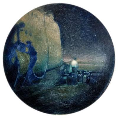 """Tam i tu. (Odyseja) Olej na płótnie , tondo 60x60cm. Obraz inspirowany wierszem Bogdana Jaremina """" Już prawie poza mną, jeszcze niemal wewnątrz miejsce i wspomnienie, niepweny ich dotyk, dwoiste pragnienia"""""""